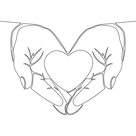 Un dessin au trait continu main tenant coeur sur fond blanc vector illustration don d'organes concept
