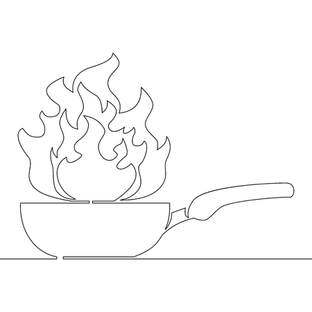 Continuous one line logo isolated vector object frying pan with fire vector illustration concept