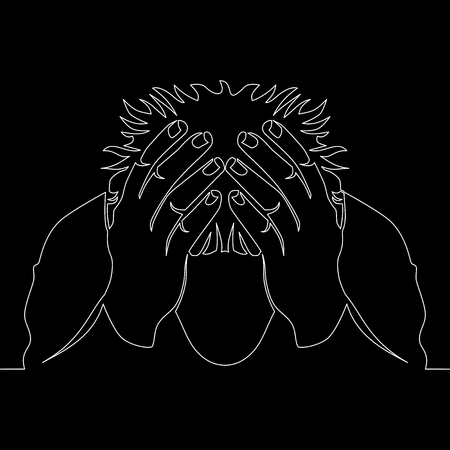 continuous line drawing of man in despair vector illustration concept
