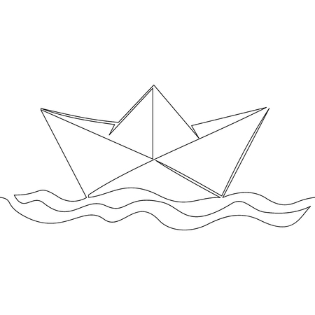 One continuous line paper ship isolated on white background boat vector illustration concept