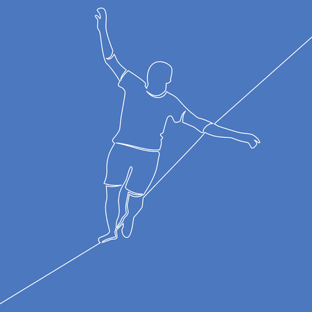 One continuous line man is walking a tightrope business challenge concept risk and danger Vector illustration Illustration