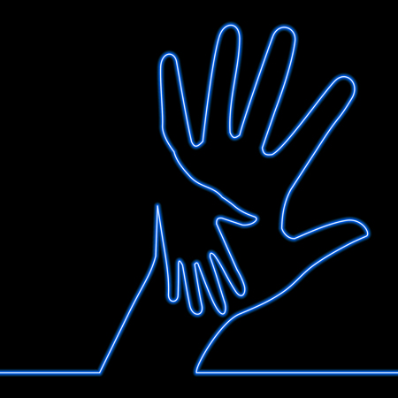 Caring hand charity blue glowing neon ui ux icon Glowing sign logo vector illustration concept
