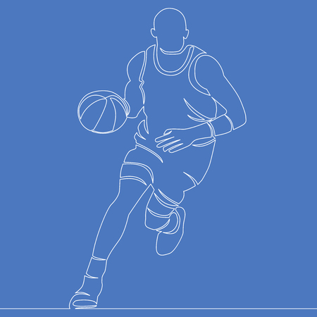 Continuous Line Drawing Basketball Player vector illustration concept Иллюстрация