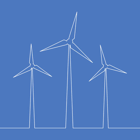 Continuous one line drawn silhouette of wind turbine alternative energy vector illustration concept