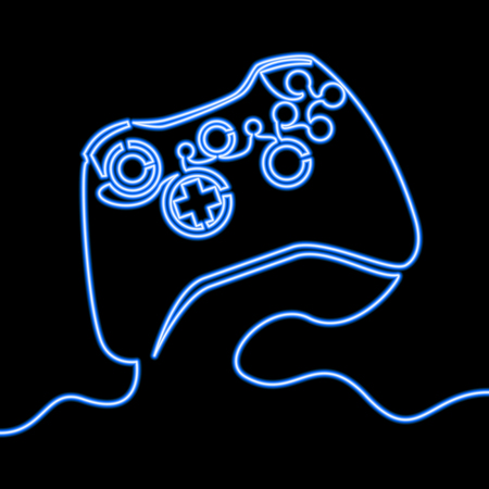 Single continuous line Neon icon of Blue Joystick Vector illustration of Wireless Gamepad Neon Gaming Joystick blue glow vector illustration concept