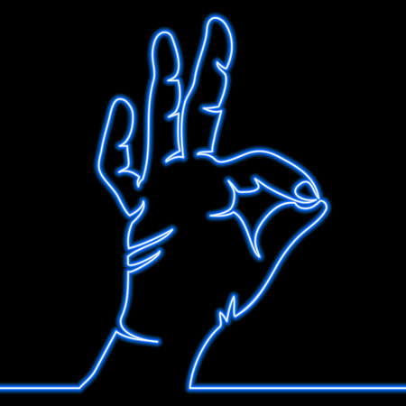 One continuous line drawing of hand showing OK gesture Linear outline icon Neon style blue glow vector illustration concept
