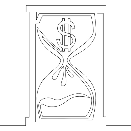 Continuous one line drawing dollar hourglass line icon vector illustration concept