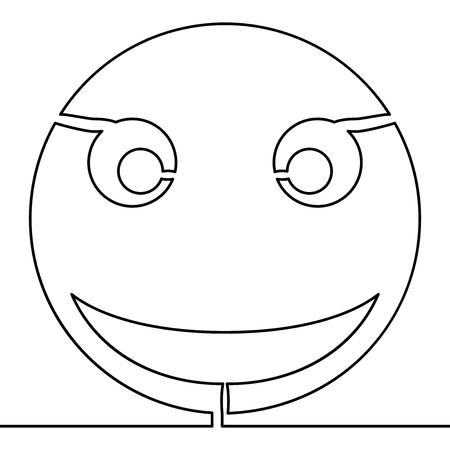 Continuous one single line drawing Smile vector icon Emoji Emoticon vector illustration concept