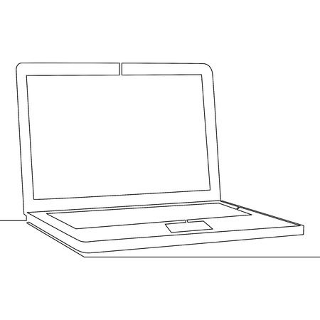 Continuous one single line drawing Laptop vector illustration concept