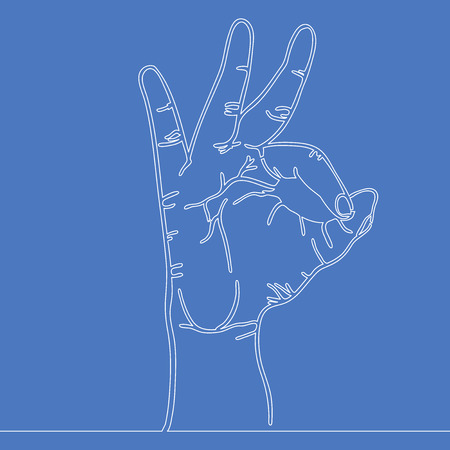 Contour drawing continuous line drawing of hand showing great sign vector illustration concept