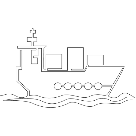 Continuous one single line cargo ship silhouette vector illustration concept