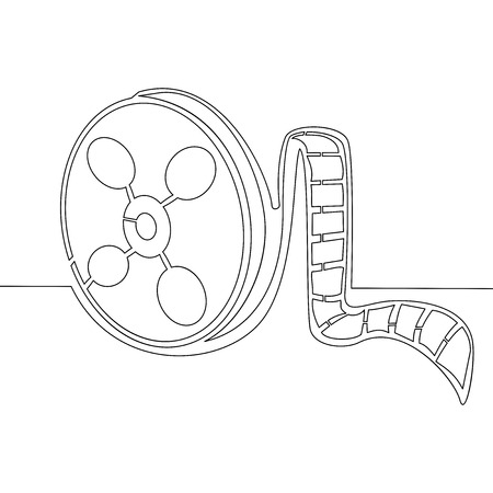 Continuous one single line drawing of business icon film tape vector illustration concept Çizim