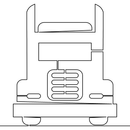 Continuous one single line Truck Concept transport logistics vector illustration