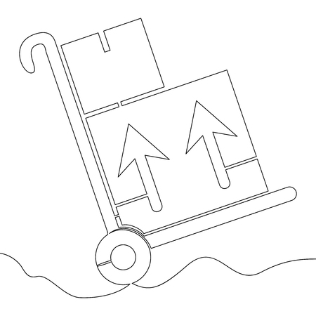 Continuous one single line warehouse trolley delivery handcart vector illustration concept Иллюстрация