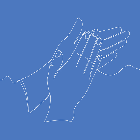 Continuous single drawn one line hands applauding vector illustration concept