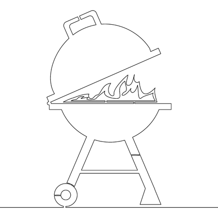 Continuous one single line Kettle barbecue Charcoal Grill icon vector illustration concept Illustration