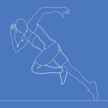 Continuo un atleta di disegno a linea singola in esecuzione veloce concetto di illustrazione vettoriale