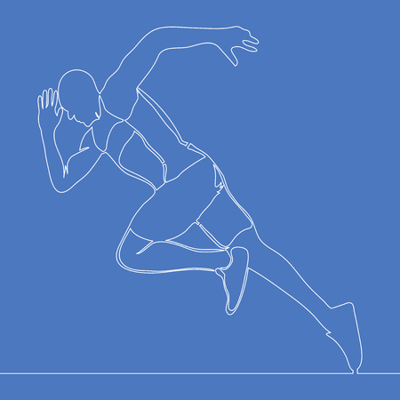 Continuous one single line drawing athlete running fast vector illustration concept