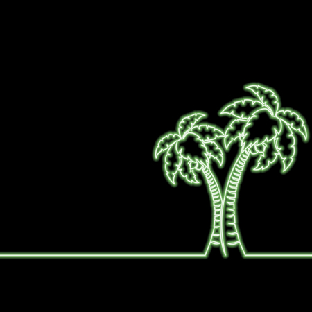 Single continuous line drawing Palms neon glow vector illustration concept