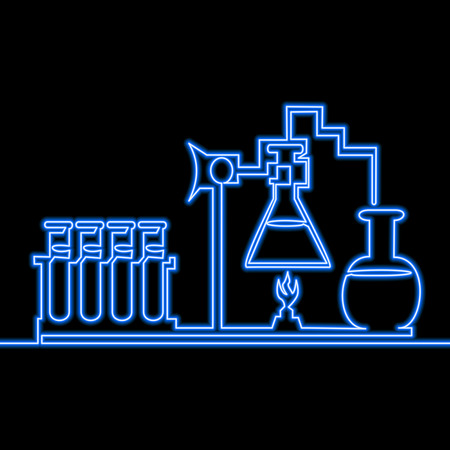 Single continuous line drawing chemistry icon Medicine icon neon glow vector illustration concept