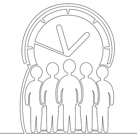 Continuous one line drawing businessmen crowd standing on giant clock icon isolated time management vector illustration concept