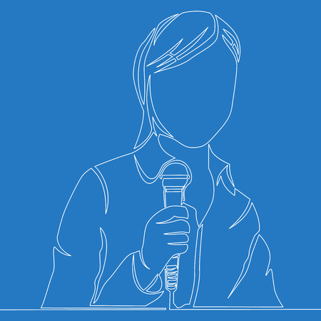 Continuous one single line drawing entertainer talking woman holding microphone icon isolated vector illustration concept Illustration