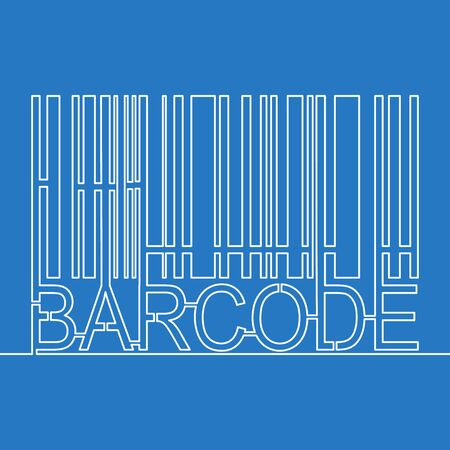 Continuous one single line drawing Barcode label linear icon vector illustration concept