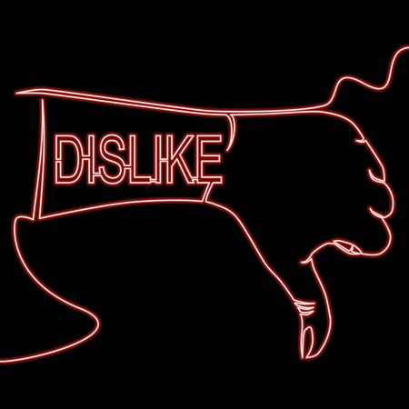 Continuous one single line drawing Hand with thumb down, dislike icon neon glow vector illustration concept Ilustração