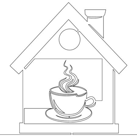 Continuous one single line drawing coffee house logo vector illustration concept Ilustração