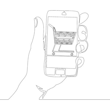 Continuous one single line drawing mobile online shopping icon vector illustration concept