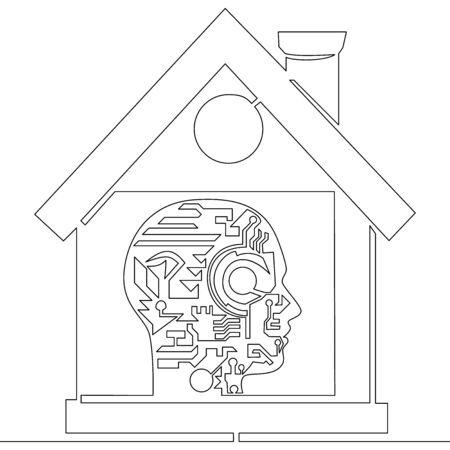 Continuous one single line drawing intelligent building icon vector illustration concept