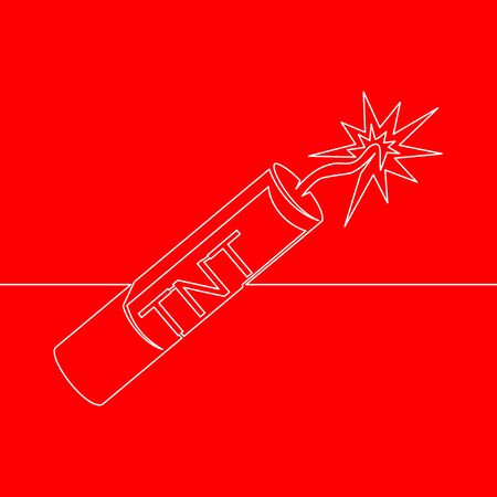Continuous one single line drawing dynamite icon vector illustration concept