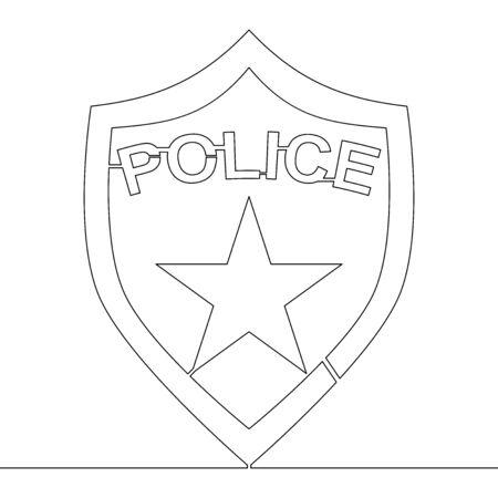 Continuous one single line drawing Police officer badge icon vector illustration concept