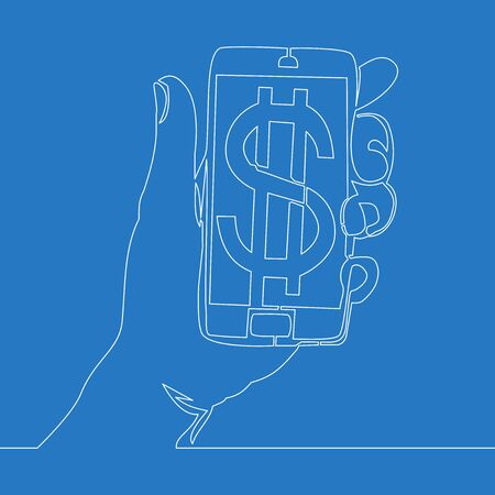 Continuous one single line drawing Hand holding a smart phone with a dollar icon vector illustration concept