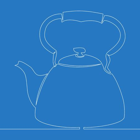 Continuous one single line drawing kettle Line art icon vector illustration concept Ilustração