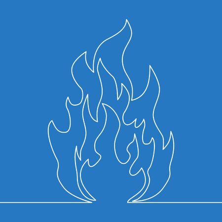 Continuous one single line drawing fire icon vector illustration concept Ilustração
