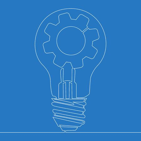 Continuous one single line drawing innovation Light bulb and cog inside icon vector illustration concept Ilustração