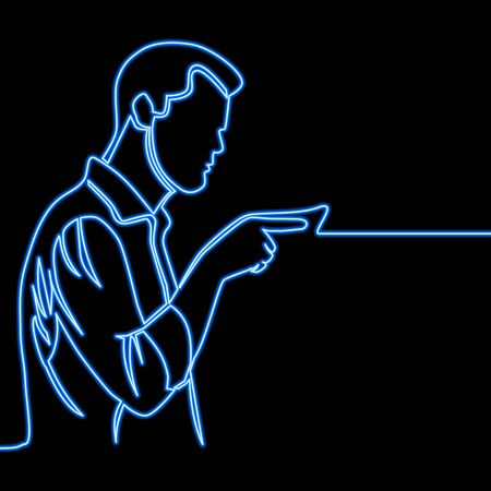 Continuous one single line drawing man pointing icon neon glow vector illustration concept