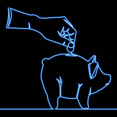 Continuous one single line drawing piggy bank icon neon glow vector illustration concept Ilustração
