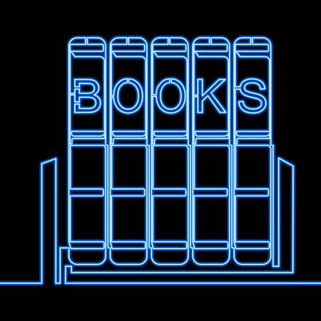 Continuous one single line drawing books icon neon glow vector illustration concept Ilustração