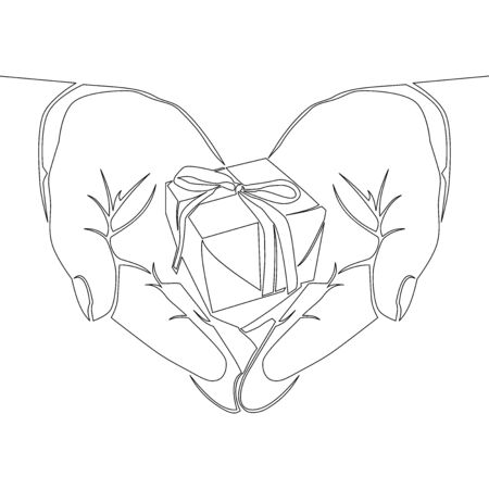 Continuous one single line drawing gift box with ribbon bow in hands icon vector illustration concept