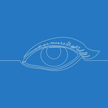 Continuous one single line drawing female watch eye icon vector illustration concept