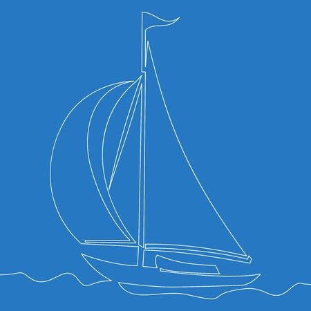Continuous one single line drawing sailboat icon vector illustration concept