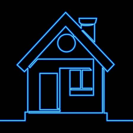 Continuous one single line drawing house icon neon glow vector illustration concept