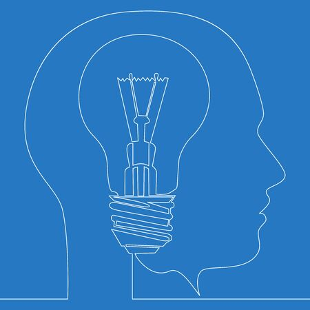 Continuous one single line drawing light bulb idea concept of thinking ideas inside head icon vector illustration concept