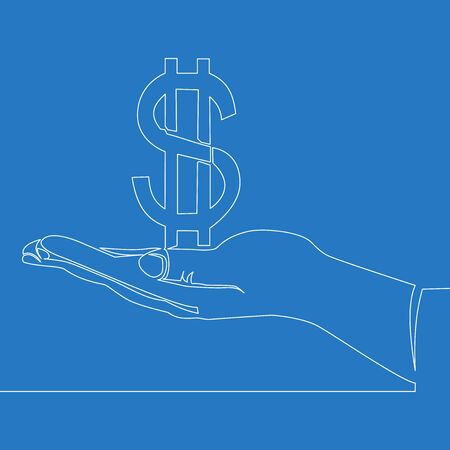 Continuous one single line drawing hand with dollar icon vector illustration concept
