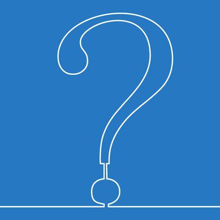 Continuous one single line drawing question mark drawn icon vector illustration concept Ilustração