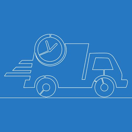 Continuous one single line drawing fast delivery truck icon vector illustration concept