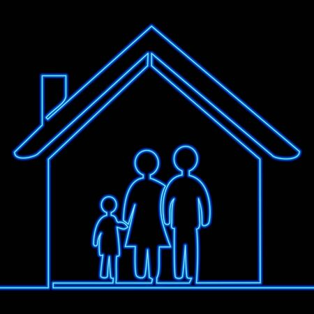 Continuous one single line drawing married couple with child in the house icon neon glow vector illustration concept