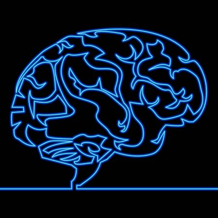 Continuous one single line drawing brain icon neon glow vector illustration concept Imagens - 130344257